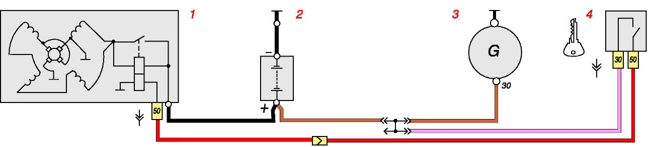 Схема соединений стартера: 1