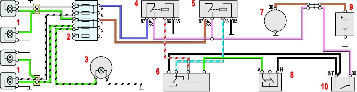 Схема включения фар: 1 — фары;